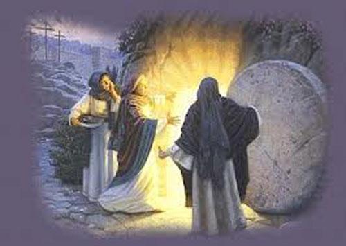 tumba vacia, jesus, resurrección, angel, virgen maria