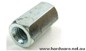 HEXAGON COUPLING NUT - 1/4 BSW x 25mm - ZINC PLATED 1
