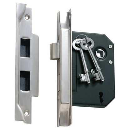 1159 - 3 Lever Rebated Mortice Lock - Satin Chrome - 57mm Backset 1