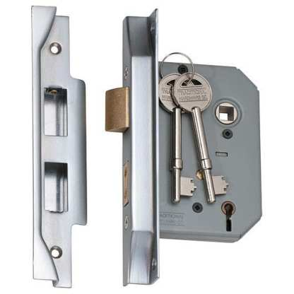 2178 - 5 Lever Rebated Mortice Lock - Satin Chrome with a 46mm Backset 2