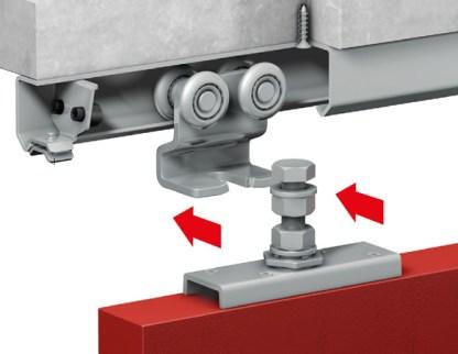 Industrial Sliding Door Roller with Four Wheels. M16 x 90mm. OM51500 3