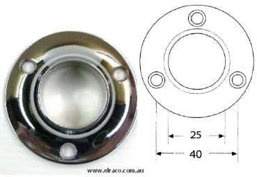 End Flange for 25mm Hanging Rod - Round- Chrome Plated 1