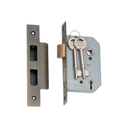 2150 - 5 Lever Mortice Lock - Antique Brass with a 46mm Backset 1