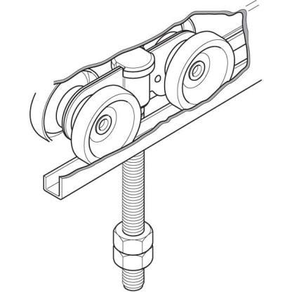 Eltrak EH12LP Four Steel Wheel Carriage for Sliding Industrial Doors to 450kg 1