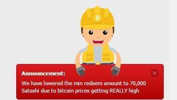Anuncio de mínimo de pago en Bitgames