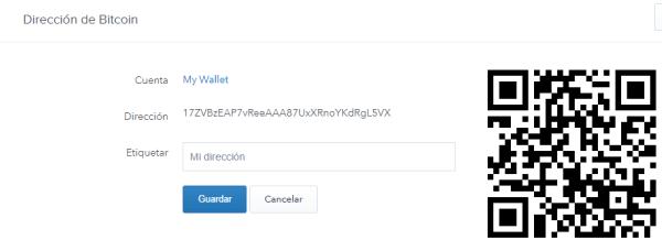 dirección bitcoin creada en coinbase