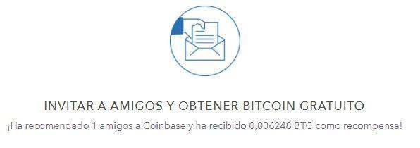 Recompensa por invitar en Coinbase