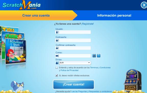 Scratchmania formulario de registro