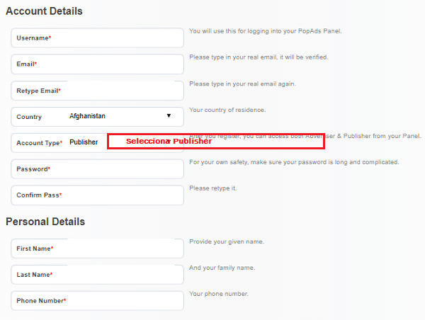 registro popads