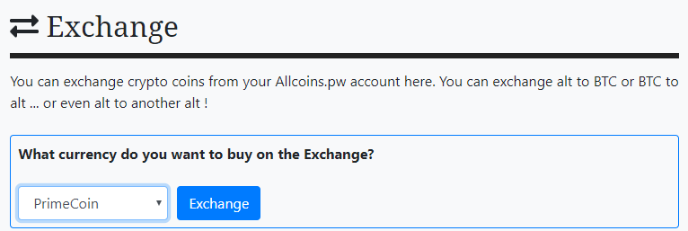 Allcoins exchange