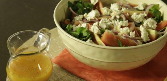 Receta de ensalada de hojas verdes con aderezo