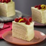 Receta del pastel de crepas con frambuesa