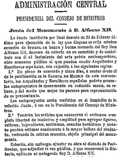 Gaceta de Madrid.- Monumento Alfonso XII