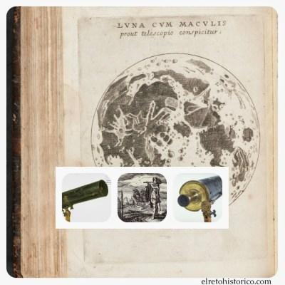 """""""Luna cum Maculis"""", tratado de 1617 (Bélgica)/ Grabado Danés hombre con telescópio 1624 / 2 imágenes de Telescopio Gregoriano 1701 /"""