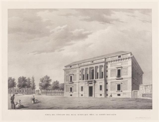 Vista del Real Museo, aguatinta litográfica y lápiz sobre papel