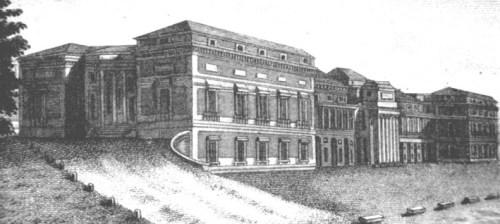 Museo del Prado, proyecto realizado, según un grabado incluido en el Manual de Madrid, de Mesonero Romanos (1831)