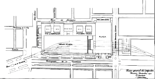Plano general del conjunto y del trazado ferroviario del enlace y la estación (nov 1933, S. Zuazo)