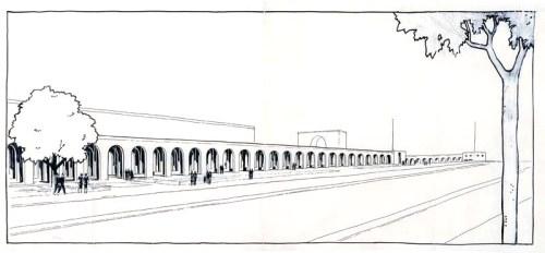 Perspectiva Arquería Pº Castellana (Zuazo, dic. 1933) (BNE)