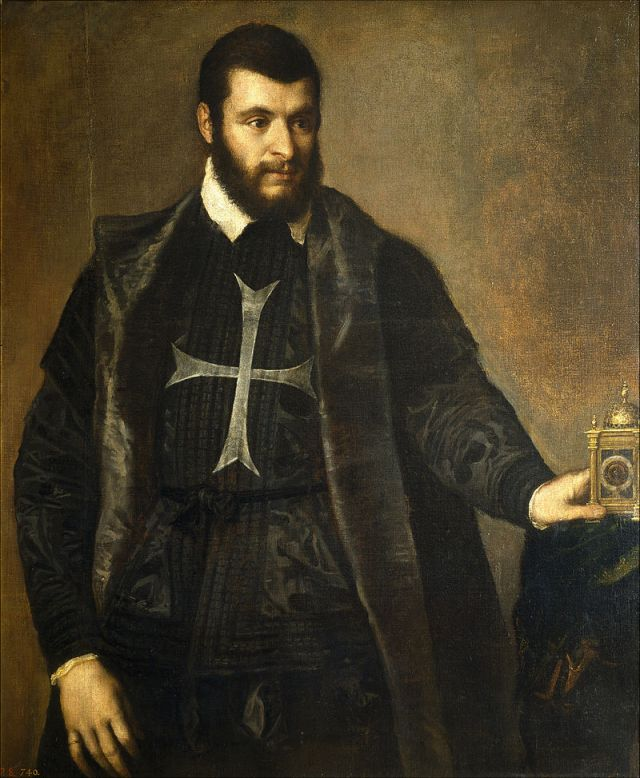 Tiziano: Caballero de San Juan con reloj