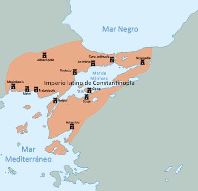 El Imperio latino durante el reinado de Enrique de Flandes (1206-1216). (wikimedia)
