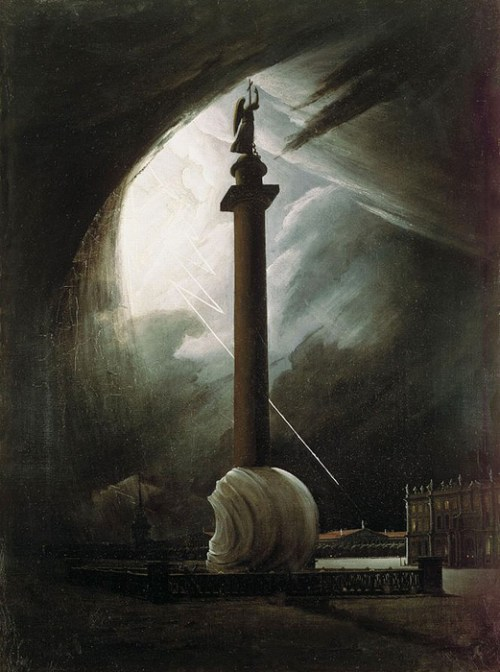 The Alexander Column during a Thunderstorm Vasily Raev (1834)
