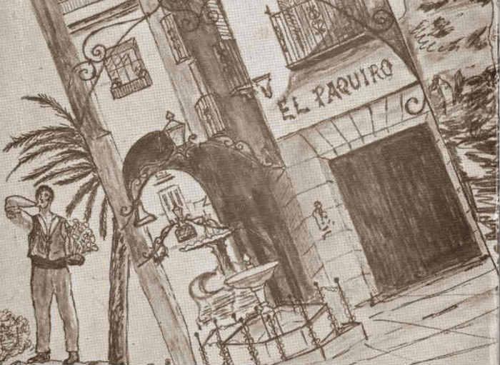 """Fragmento de la ilustración que forma la portada del libro """"Añoranzas Malagueñas"""""""