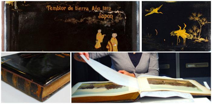 """Imágenes del Album: """"Fujiyama Temblor de Tierra. Año 1892, Japón"""" conservado en el IPCE"""