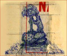 Boceto a plumilla de la escultura