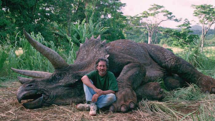 Steven Spielberg durante el rodaje de Jurassic Park