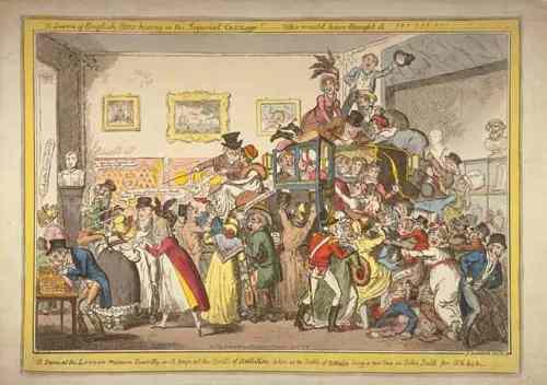 """Ilustración de como la gente """"visitaba"""" el carro blindado de Napoleón en el Egyptian Hall."""