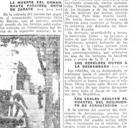 """Fragmentos de El Liberal (Madrid 24/07/1936) Se leen los términos """"faccioso"""" y """"leales"""""""