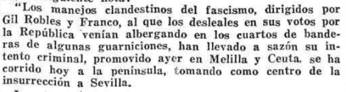 El Liberal (Madrid 19/07/1936) Fragmento del discurso de los Partidos Socialista y Comunista.