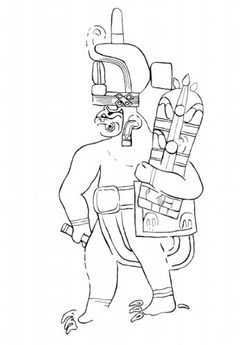 """Ilustración del libro: """"The Olmec Rock Carving at Xoc"""" (1968)"""