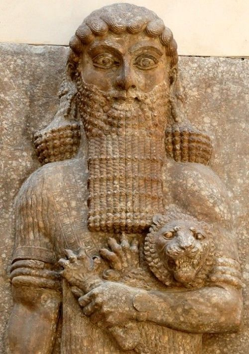 The Sumerian epic hero Gilgamesh holding a lion. Relief from the throne room in the Palace of Sargon II at Khorsabad. Musée du Louvre, Paris, FRANCE. Photo by Marie-Lan Nguyen