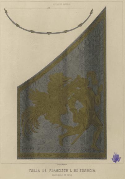 TARJA DE FRANCISCO I DE FRANCIA, PRISIONERO EN PAVIA ( Autor Anónimo español s.XIX )