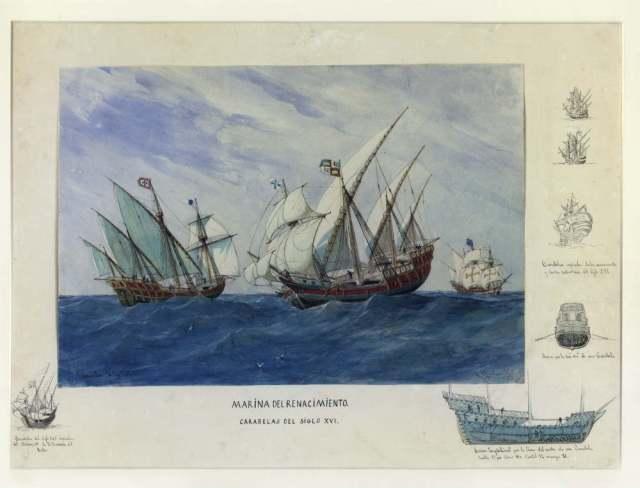 Escuadra del siglo XVI : (Acuarela Monleón y Torres, Rafael, 1885 )