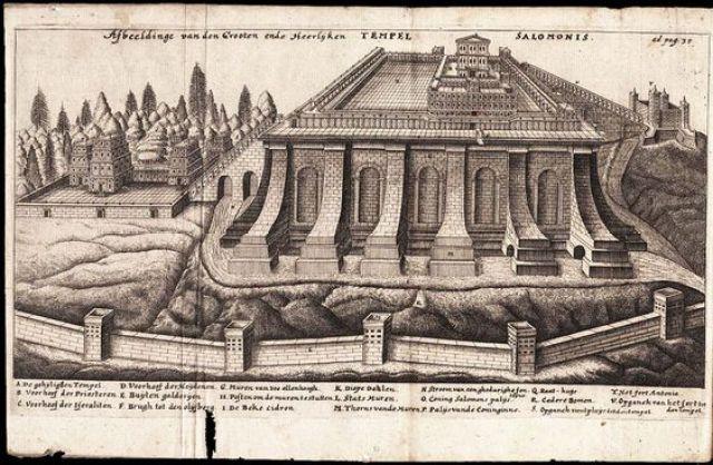 De templo Hierosolymitano (Grabado del Templo de Salomón). por Leon, Jacob Judah Aryeh (1603-1675)