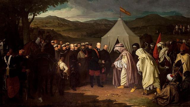 Este cuadro fue adquirido por el Ayuntamiento de Sevilla, (España), en 1872, y conmemora el Tratado de Wad-Ras, que fue suscrito por España y Marruecos el día 23 de marzo de 1860.