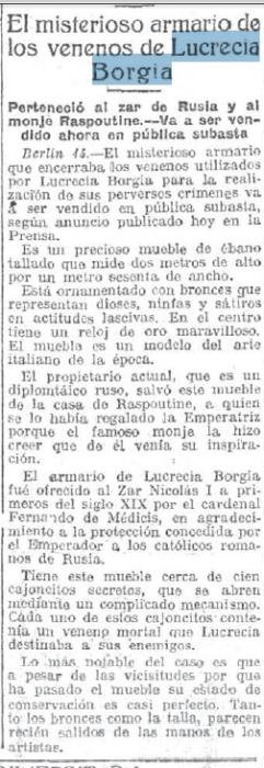 Lucrecia Borgia Armario Noticia