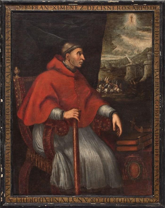 Cardenal Cisneros. Eugenio Caxés (1605). Al fondo de la escena se representa el asalto a unas murallas, sin duda las de Orán.