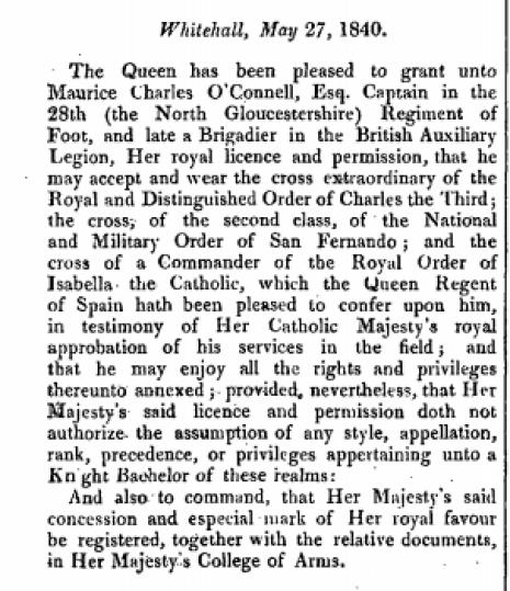 Fragmento de la London Gazete en el que se detalla la orden de la reina británica