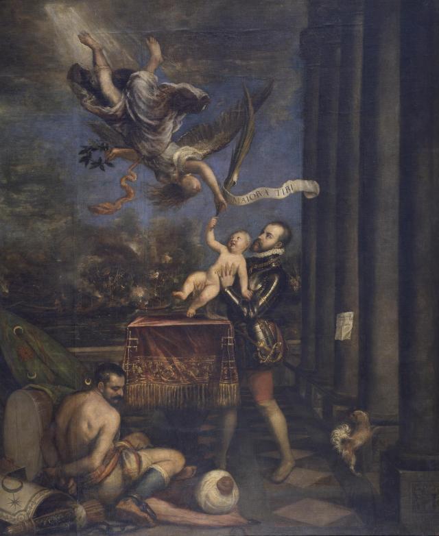 Felipe II ofreciendo al cielo al infante don Fernando tras la victoria en Lepanto, por Tiziano (1573 - 1575)