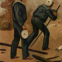 Marineros españoles en el Callao. Detalle de la ilustración de Cesar Cantu (J Seix, 1885)