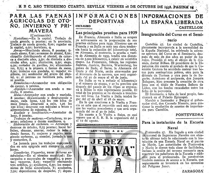 Noticia aparecida en el ABC del 28 octubre de 1938 donde se informa de las obras en Marín.