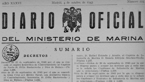 Recompensas a Félix Basterreche por su celo en las obras de la ENM: ascenso a contraalmirante y la gran cruz del mérito naval.