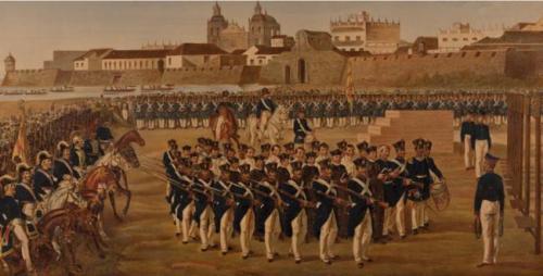 Generoso Jaspe. Fusilamiento de los próceres de Cartagena. Colección Museo Nacional de Colombia