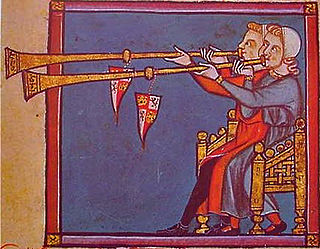 Miniatura con tañedores de añafiles de las Cantigas de Santa María (h. 1250-1284) de Alfonso X el Sabio. Cantiga n.º 320.
