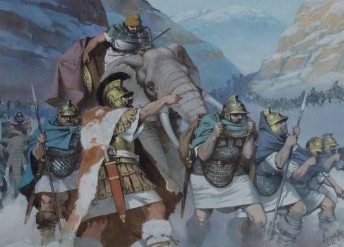 Las huestes de Aníbal cruzando los Alpes. Angus McBride