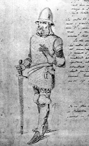 Dibujo procedente de un manuscrito de la Biblioteca Laurentina de París que representa al almirante Jofre Tenorio