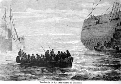 Trasbordo de los pasajeros a la corbeta Tornado